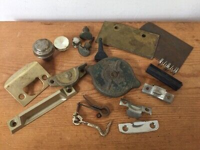 Mixed Lot Vtg Rusty Hardware Knobs Door Accessories Metal Plates Hooks Latches