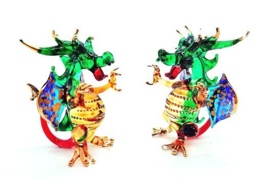 European Dragon Fire Hand Blown Glass Figurine Hand Made Wyvern Basilisk Animal