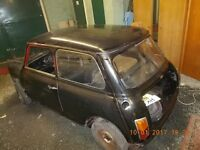 1975 Mini 1000 - complete car with V5 and brand new, jig built, unpainted shell.