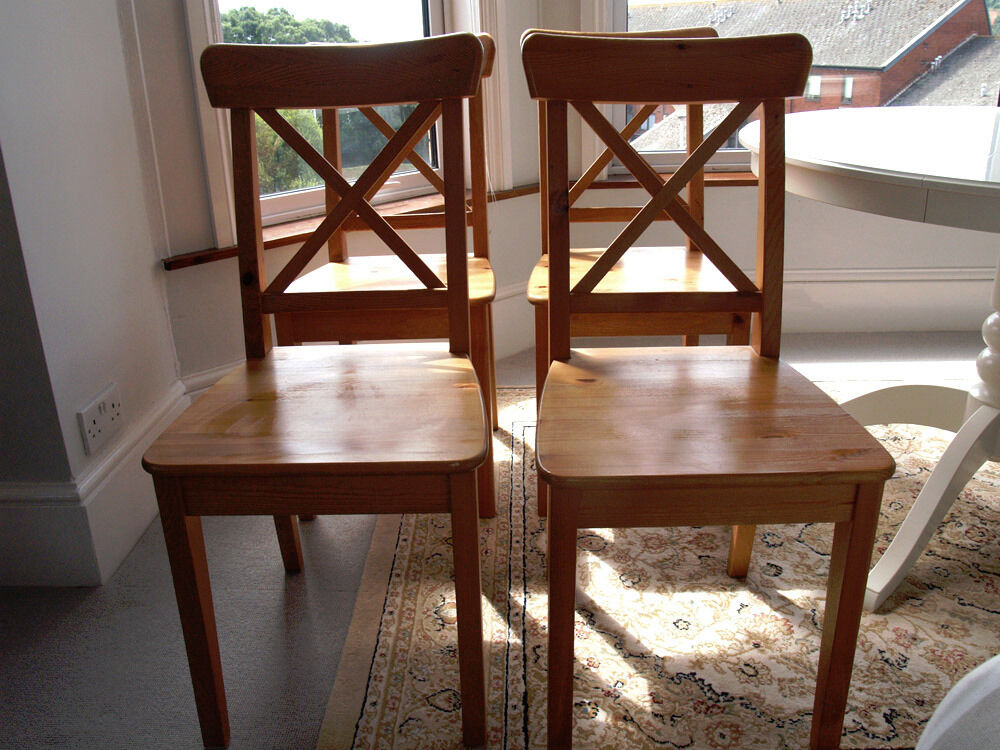 Set Of 4 Solid Pine Dining Chairs Ikea Ingolf