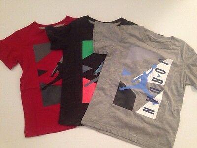 Nike Air Jordan Boy Size 4 5 6 7 T Shirt Top Black Dark Grey Red Graphic Clothes ()