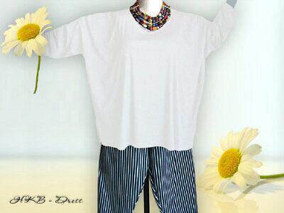 Baumwolle Extra Langes Tunika (Oversized Shirt, extra lange Ärmel Gr. von 48 - 64,Jersey,Baumwolle weiss)