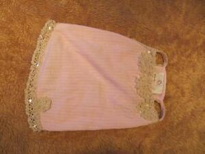 Dog Clothing - Pink Summer Dress with Lace Pearls Sequins
