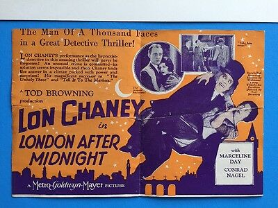LONDON AFTER MIDNIGHT Herald w Movie Poster Art 1927 Lon Chaney Silent HORROR