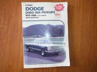 Dodge P/U  Cummins D100 D150 D250 D350 1971-1986 Shop Manual