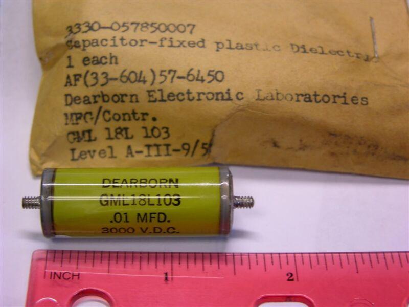Vintage Dearborn GML18L103 .01uF 3000V Glass Tubular Paper/Polyester Capacitor