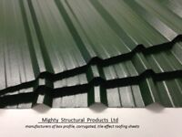 Box profile steel roofing sheets, juniper green plastisol x .7mm
