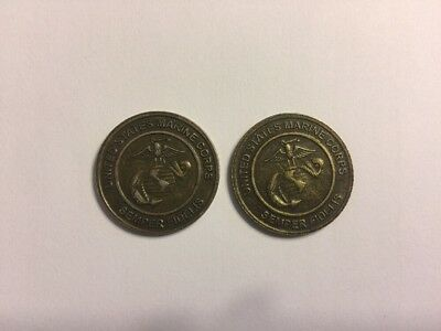 """United States Marine Corps """" Semper Fidelis """" Toys For Tots Coin Set Of 2"""