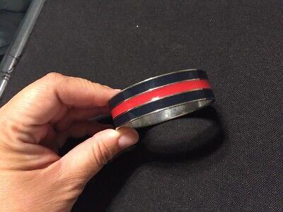 Enamel Wide Bangle (Ralph Lauren Blue Red Enamel Wide Bangle Bracelet. Silver)