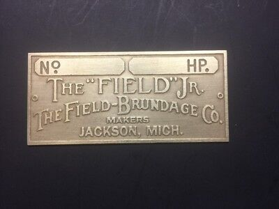 New Field Jr Brundage Etched Brass Tag Antique Gas Engine Hit Miss
