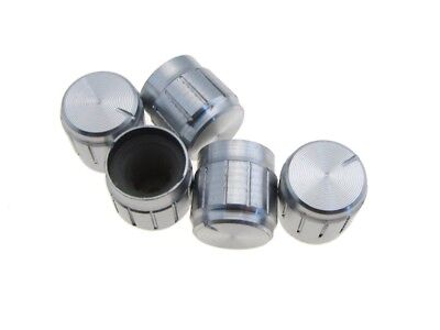 Aluminum Knob Cap For 6mm Knurled Shaft Potentiometers Pot - Silver - Pack Of 5