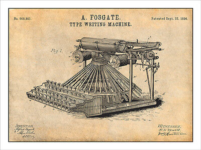 1896 Fosgate Type Writing Machine Patent Print Art Drawing Poster 18X24 (Writing Posters)