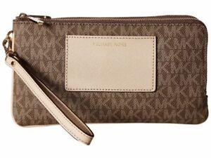 8004284ff74c Michael Kors Mocha MK Signature PVC Bedford Large Double Zip Wristlet Wallet