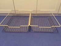 2 x Ikea Komplement Single Beige Metal Baskets for Pax Wardrobes