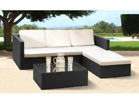 **FREE & FAST UK DELIVERY** 3 Piece Garden Rattan Corner Sofa with Footstool and Table