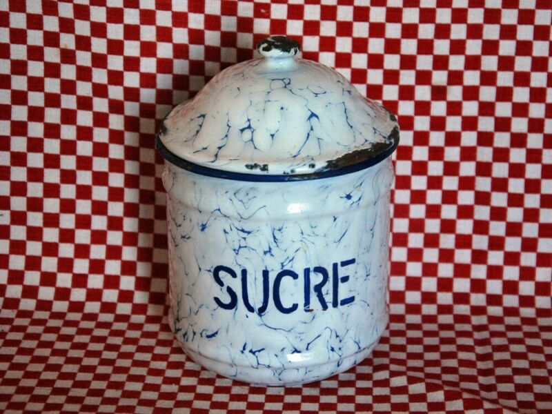 BLUE SUCRE CANISTER SUGAR BOWL~ FRENCH ANTIQUE ENAMEL WARE ~ GRANITEWARE