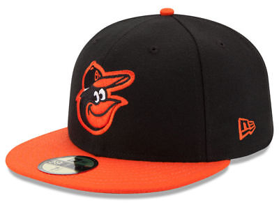 - New Era Baltimore Orioles ROAD 59Fifty Fitted Hat (Black/Orange) MLB Cap