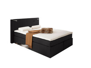 boxspringbett doppelbett 160x200 hotelbett amerikanisch bett savanna schwarz h2 ebay. Black Bedroom Furniture Sets. Home Design Ideas