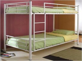 BRAND NEW SINGLE WHITE METAL BUNK BED THAT SPLITS INTO 2 SINGLE BEDS
