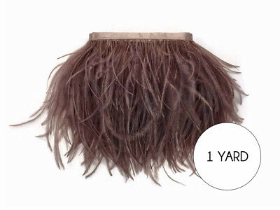 1 Yard - Mocha Ostrich Fringe Trim Wholesale Feather Craft Prom Dress - Wholesale Craft Suppliers