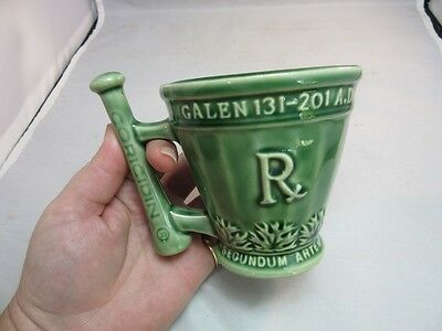 Vtg Schering pottery mortar pestle mug.Coricidin. Green