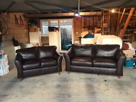 Marks and Spencer Abbey, Chocolate Brown Leather sofa set (2 and 3 seater)