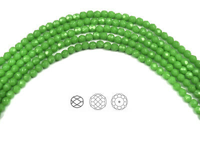 102 Preciosa Czech Glass Fire Polished Beads 4mm Green Opal, 16 inch strand