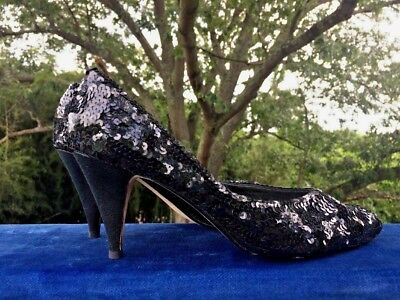 J RENEE Black Sequin High Heels Evening Stilettos Sparkle Shoes Women Sz 8 N 👠2 for sale  Madison Heights