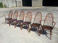Ercol Quaker dining chairs, complete set of 6