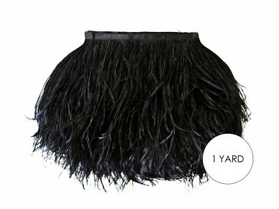 1 Yard - Black Ostrich Fringe Trim Wholesale Feather Halloween Prom Costume  (Black Ostrich)