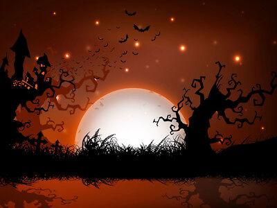 Vinyl Backdrop Studio Photography Prop 9x6ft Scary Halloween full moon Red - Full Moon Halloween Prop