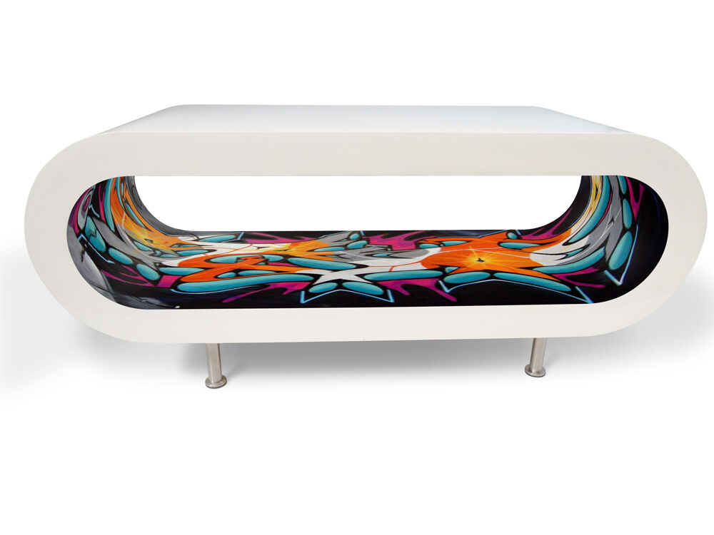 Bespoke designer wooden coffee table graffiti large modern for Contemporary oval coffee tables
