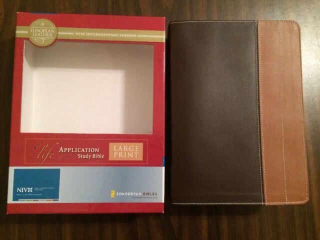 NIV 1984 Large Print Life Application Study Bible -  Chocolate European Leather