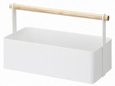 Yamazaki Metal Multi Purpose Basket with Wooden Handle/Tool Box/Makeup Box/Japan