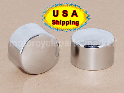 USA Chrome Front Axle Nut Covers For Harley Dyna Heritage Softail Fatboy 08-2017