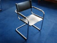 Qty 10 Italian Bauhaus Mark Stam style black leather seat chrome frame cantilever chairs.