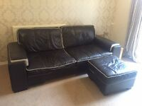 DFS leather 3 seater sofa