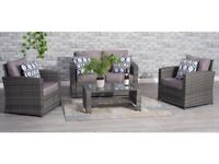 **FREE & FAST UK DELIVERY** Garden Conservatory 4 Piece Grey Rattan Chair & Table Set - BRAND NEW