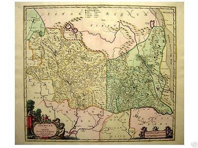 1 Orig oldcol.coppermap Blaeu1640 SUCHUEN et XENSI CHINA