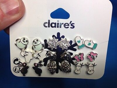 Nine Pairs Of Claires Winter Holiday Christmas Moose Mittens More Earrings New