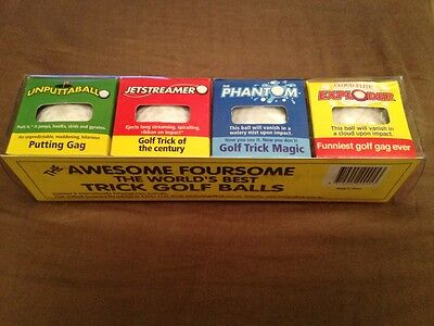 Golf Novelty (4 Classic Trick Golf Balls In A Gift Pack! Fun, Humor, Gag, Novelty,)