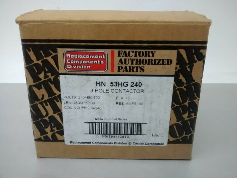 Carrier / Tyco HN 53 HG 240 3 Pole Contactor Model 96, 240/480/600 Volts 90 Amps