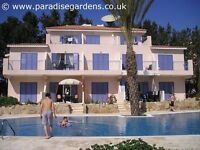 Paphos Cyprus self-catering poolside villa apartment for holiday rentals, 3 bedrooms, sleeps 8