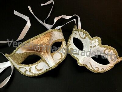 Gold White Masquerade theme Party Mask Dress up Prom Birthday Costume Carnival