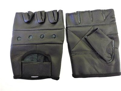 Black Leather Padded Fingerless Fitness, Cycling, Gym Gloves - Large
