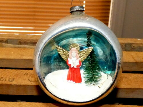 Vintage Christmas Mercury Glass Diorama Red Angel & Brush Tree Ornament Japan