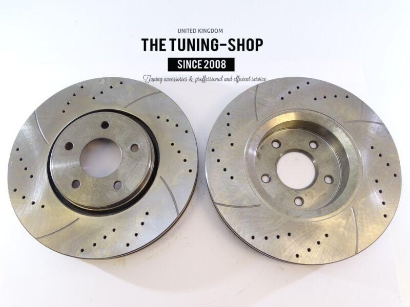 2x Brake Disc Rotor Front Drilled 31481A AS TEC For MAZDA CX-9 2007-2014