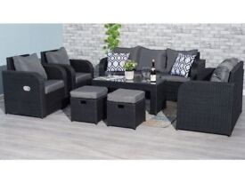 **FREE & FAST UK DELIVERY** Conservatory Black Rattan 9 Seater Sofa, Table & Reclining Chair Set
