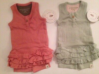 Burts Bees Baby Girl Ruffle Tank Bike Shorts Set Size 0 3 6 9 Months Pink Green