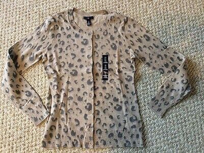 New*GAP Women's Leopard Print Cardigan in Size S/Small*Brown*Button-Up Gap Print Cardigan